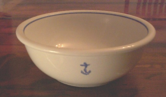 THE PIRATES LAIR-US NAVY ANCHOR CHINA DINNERWARE-RESTORED ANTIQUE TRUNKS FOR SALE-NAUTICAL ANTIQUES RARE USN Navy Large China Serving Bowl 10\  Anchor ... & THE PIRATES LAIR-US NAVY ANCHOR CHINA DINNERWARE-RESTORED ANTIQUE ...